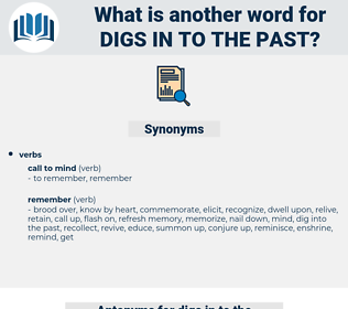 digs in to the past, synonym digs in to the past, another word for digs in to the past, words like digs in to the past, thesaurus digs in to the past