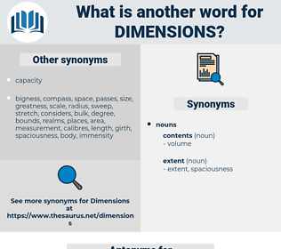 dimensions, synonym dimensions, another word for dimensions, words like dimensions, thesaurus dimensions