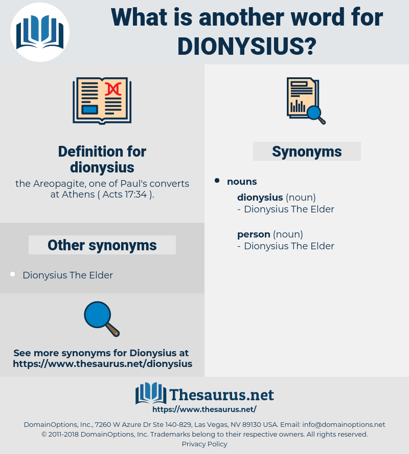 dionysius, synonym dionysius, another word for dionysius, words like dionysius, thesaurus dionysius