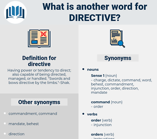 directive, synonym directive, another word for directive, words like directive, thesaurus directive