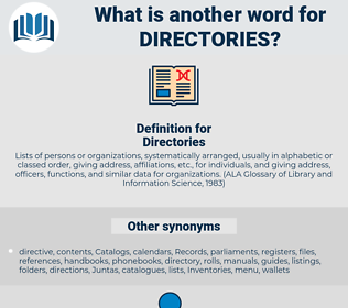 Directories, synonym Directories, another word for Directories, words like Directories, thesaurus Directories