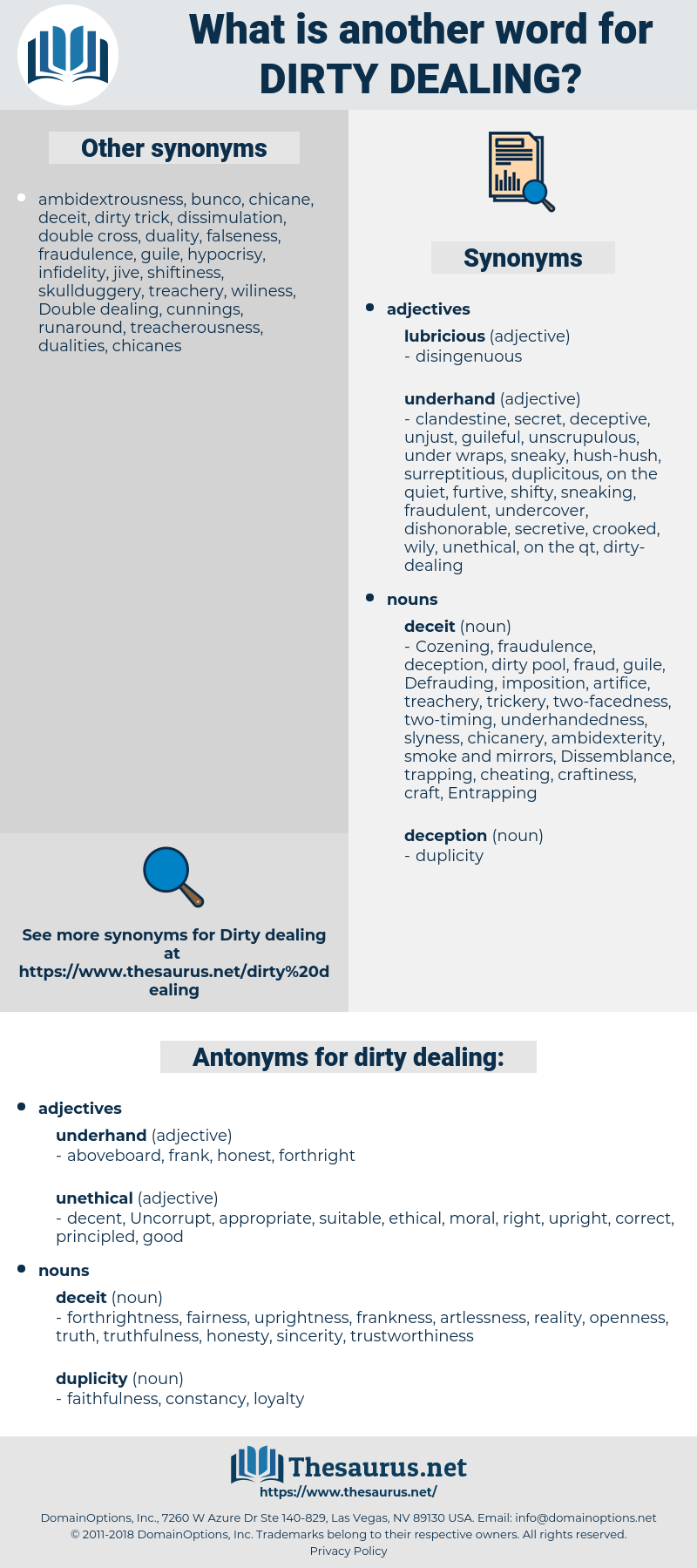 dirty dealing, synonym dirty dealing, another word for dirty dealing, words like dirty dealing, thesaurus dirty dealing