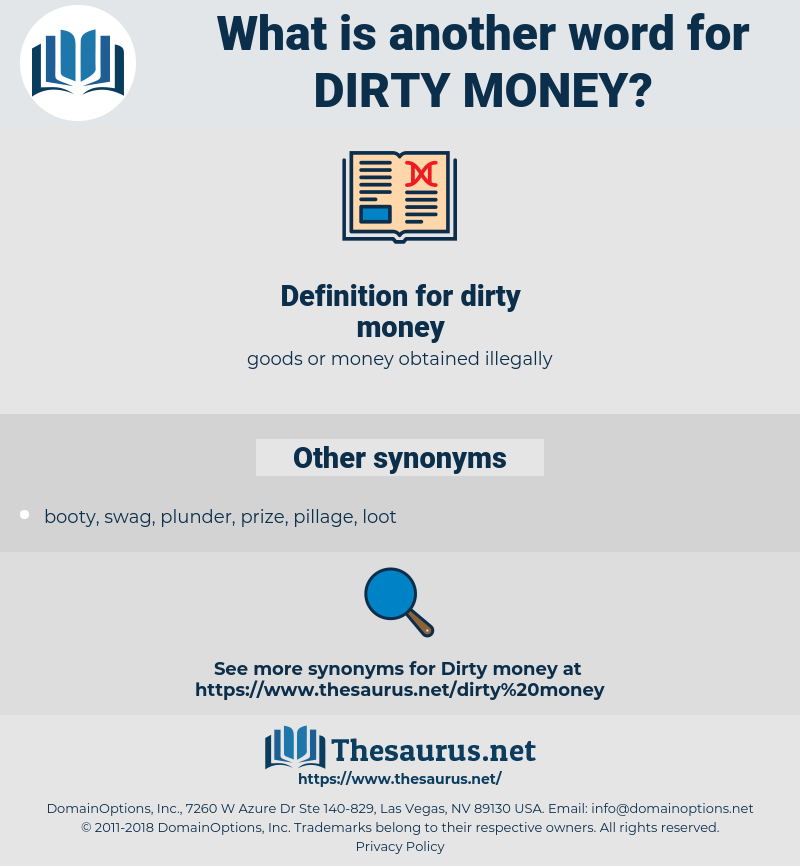 dirty money, synonym dirty money, another word for dirty money, words like dirty money, thesaurus dirty money