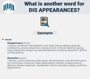 dis-appearances, synonym dis-appearances, another word for dis-appearances, words like dis-appearances, thesaurus dis-appearances