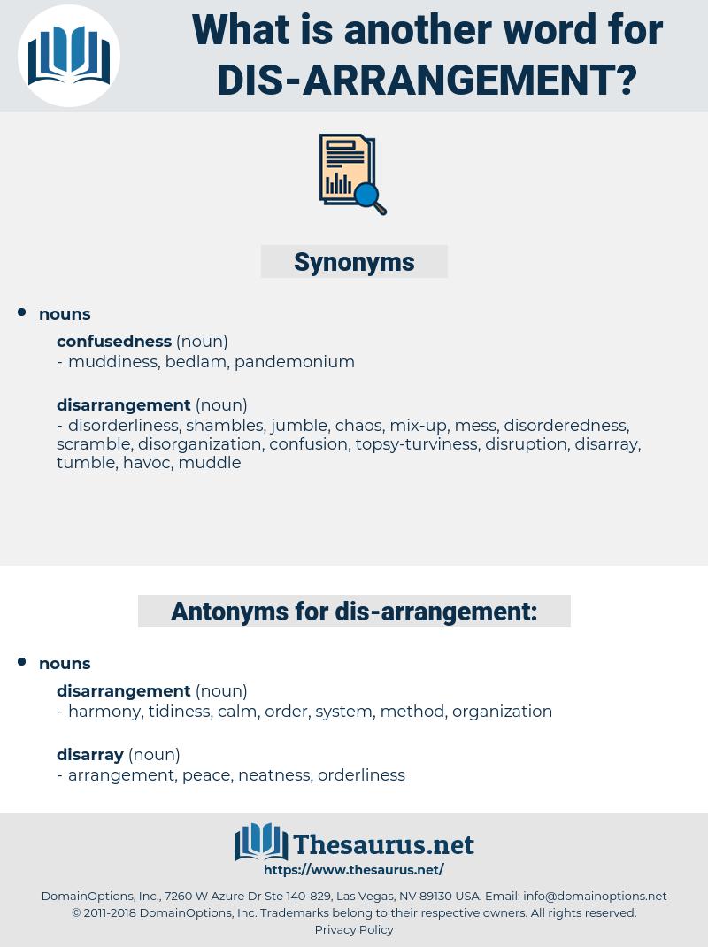dis-arrangement, synonym dis-arrangement, another word for dis-arrangement, words like dis-arrangement, thesaurus dis-arrangement