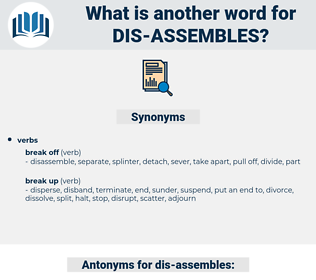 dis assembles, synonym dis assembles, another word for dis assembles, words like dis assembles, thesaurus dis assembles