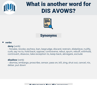 dis-avows, synonym dis-avows, another word for dis-avows, words like dis-avows, thesaurus dis-avows