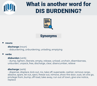 dis-burdening, synonym dis-burdening, another word for dis-burdening, words like dis-burdening, thesaurus dis-burdening