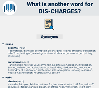 dis charges, synonym dis charges, another word for dis charges, words like dis charges, thesaurus dis charges
