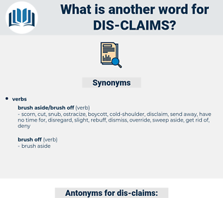 dis-claims, synonym dis-claims, another word for dis-claims, words like dis-claims, thesaurus dis-claims