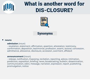 dis closure, synonym dis closure, another word for dis closure, words like dis closure, thesaurus dis closure