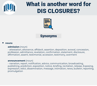 dis closures, synonym dis closures, another word for dis closures, words like dis closures, thesaurus dis closures