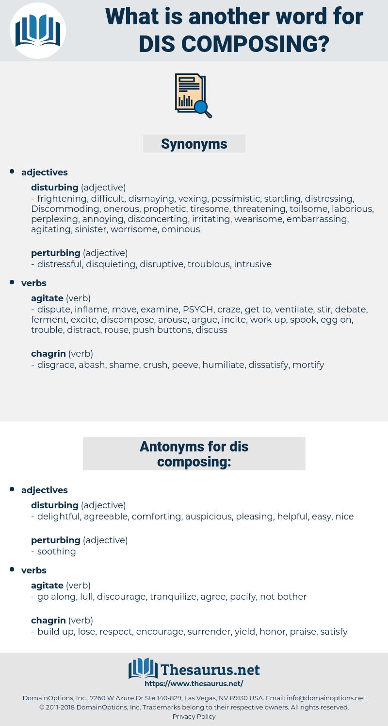 dis composing, synonym dis composing, another word for dis composing, words like dis composing, thesaurus dis composing