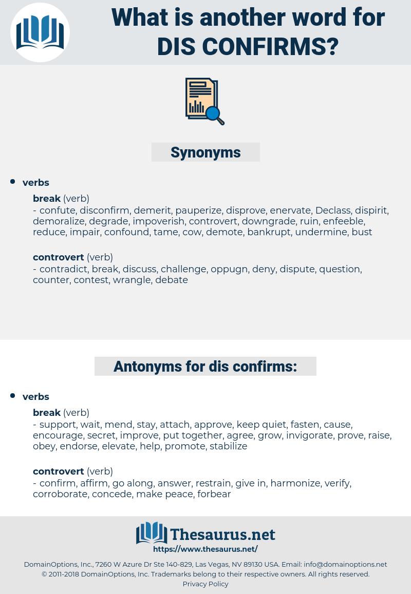 dis-confirms, synonym dis-confirms, another word for dis-confirms, words like dis-confirms, thesaurus dis-confirms