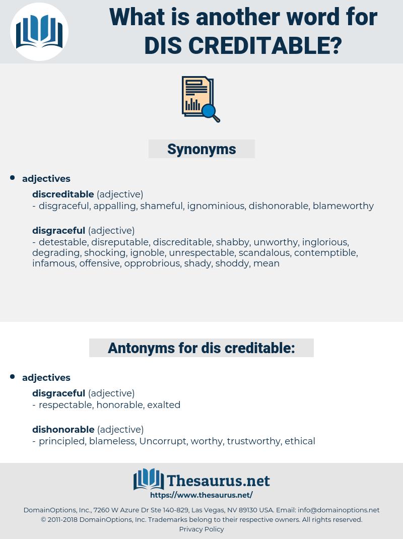 dis-creditable, synonym dis-creditable, another word for dis-creditable, words like dis-creditable, thesaurus dis-creditable
