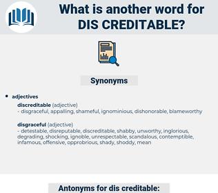 dis creditable, synonym dis creditable, another word for dis creditable, words like dis creditable, thesaurus dis creditable