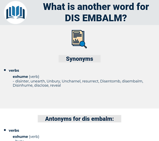dis-embalm, synonym dis-embalm, another word for dis-embalm, words like dis-embalm, thesaurus dis-embalm