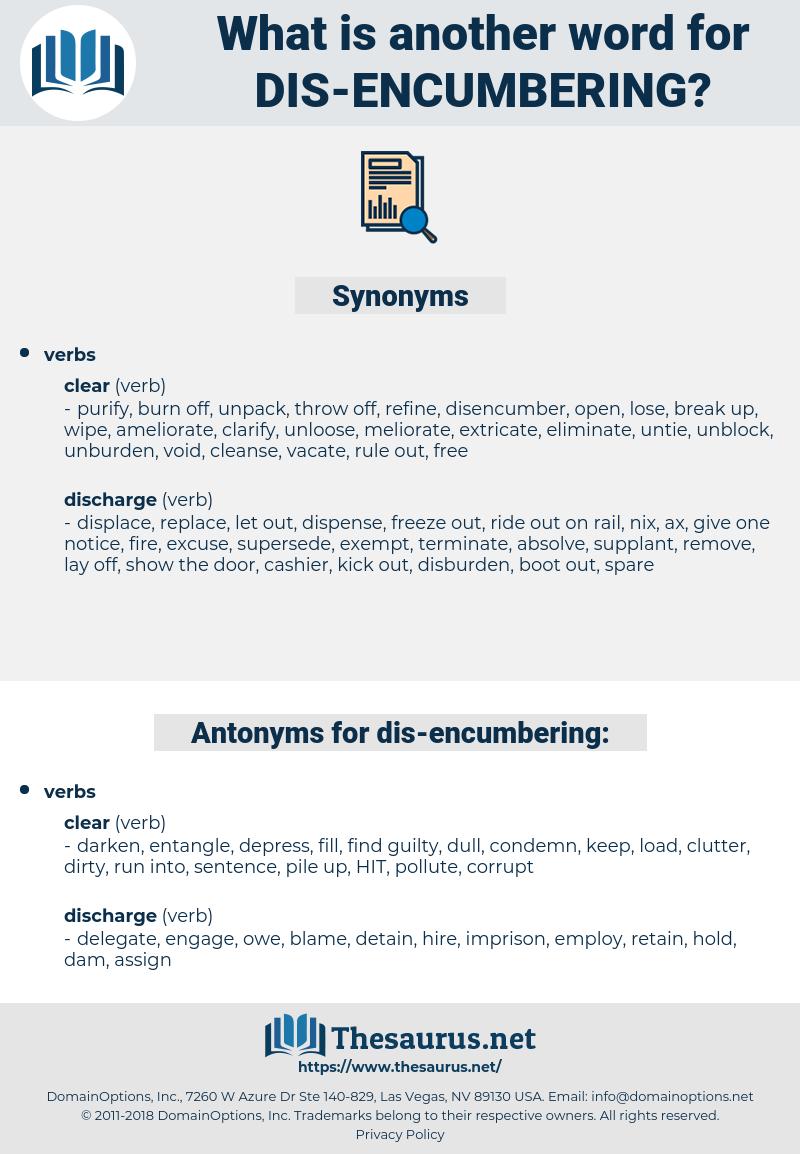 dis-encumbering, synonym dis-encumbering, another word for dis-encumbering, words like dis-encumbering, thesaurus dis-encumbering