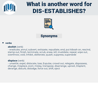 dis-establishes, synonym dis-establishes, another word for dis-establishes, words like dis-establishes, thesaurus dis-establishes
