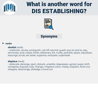 dis-establishing, synonym dis-establishing, another word for dis-establishing, words like dis-establishing, thesaurus dis-establishing
