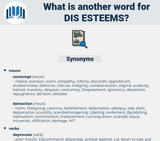 dis-esteems, synonym dis-esteems, another word for dis-esteems, words like dis-esteems, thesaurus dis-esteems