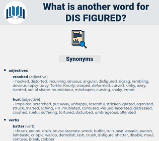 dis-figured, synonym dis-figured, another word for dis-figured, words like dis-figured, thesaurus dis-figured