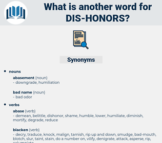 dis-honors, synonym dis-honors, another word for dis-honors, words like dis-honors, thesaurus dis-honors