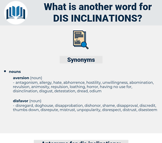 dis-inclinations, synonym dis-inclinations, another word for dis-inclinations, words like dis-inclinations, thesaurus dis-inclinations