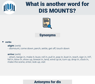 dis mounts, synonym dis mounts, another word for dis mounts, words like dis mounts, thesaurus dis mounts