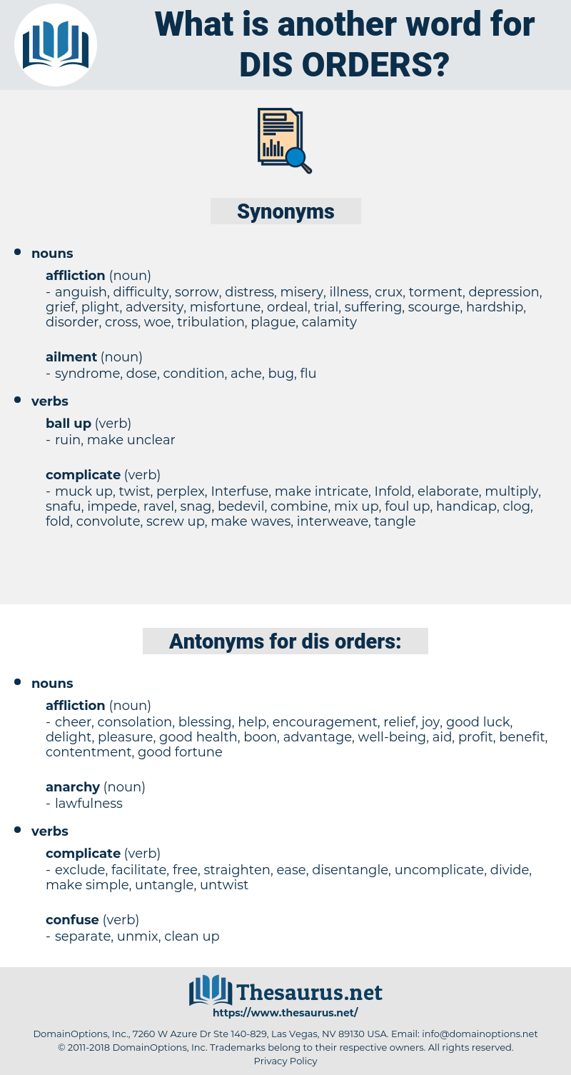 dis-orders, synonym dis-orders, another word for dis-orders, words like dis-orders, thesaurus dis-orders