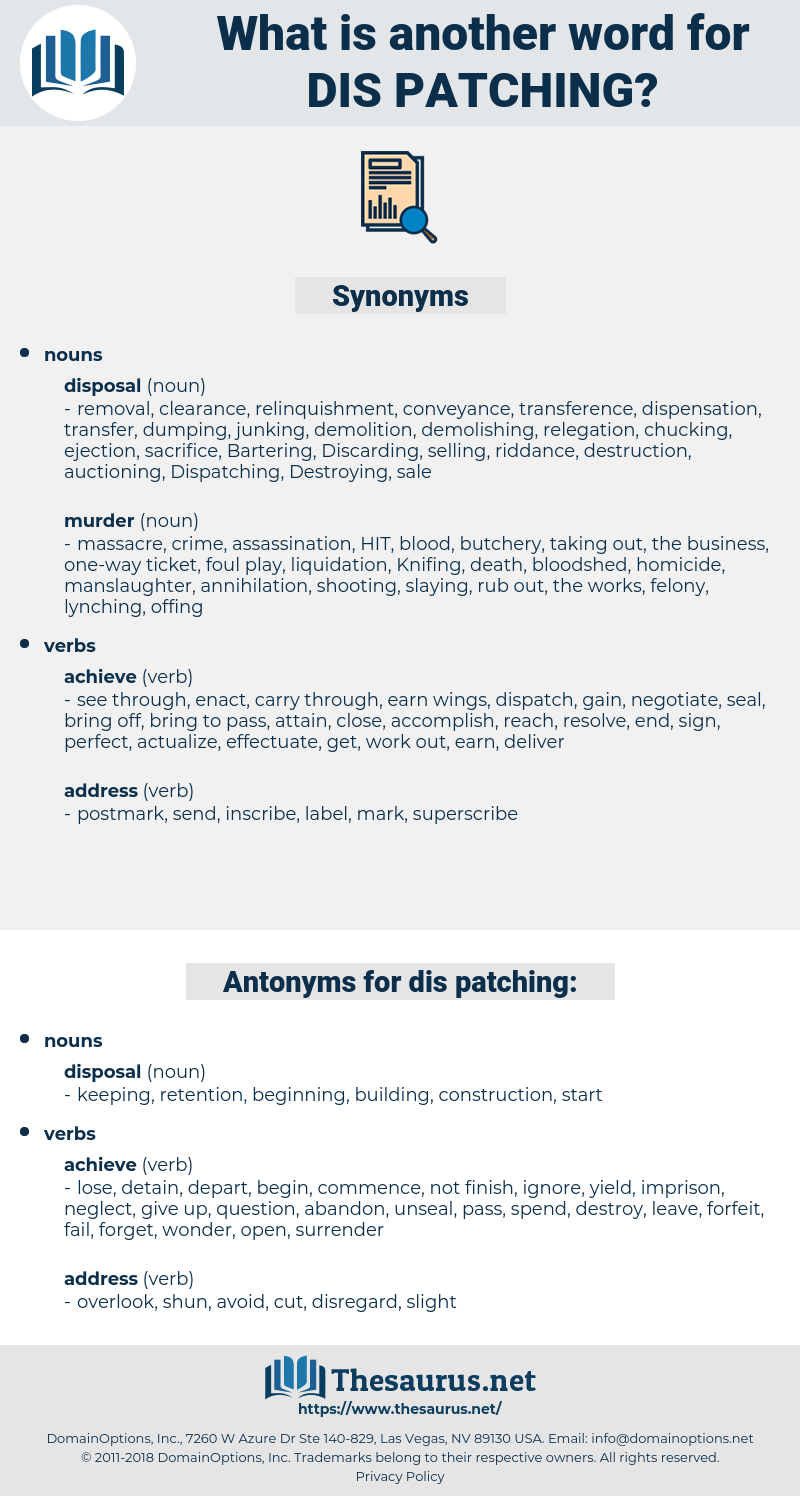 dis patching, synonym dis patching, another word for dis patching, words like dis patching, thesaurus dis patching