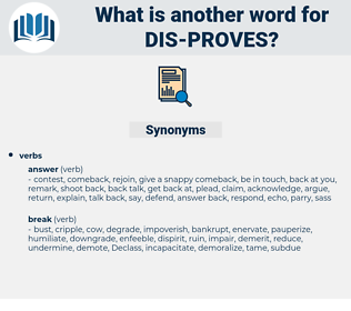 dis proves, synonym dis proves, another word for dis proves, words like dis proves, thesaurus dis proves