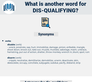 dis-qualifying, synonym dis-qualifying, another word for dis-qualifying, words like dis-qualifying, thesaurus dis-qualifying
