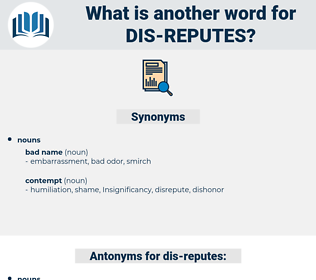 dis-reputes, synonym dis-reputes, another word for dis-reputes, words like dis-reputes, thesaurus dis-reputes
