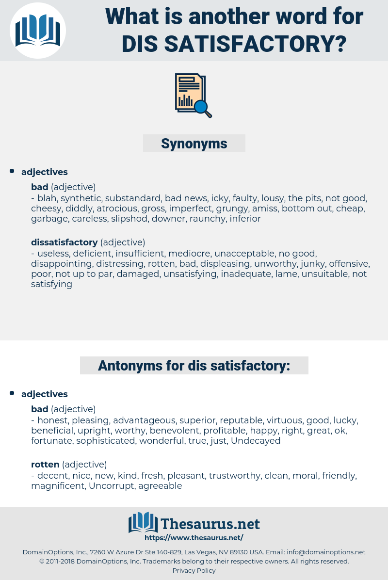 dis satisfactory, synonym dis satisfactory, another word for dis satisfactory, words like dis satisfactory, thesaurus dis satisfactory