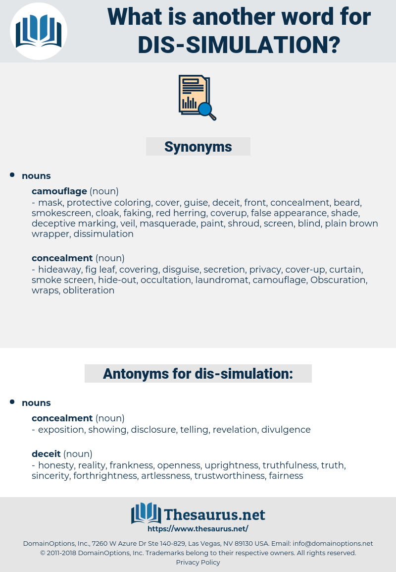 dis-simulation, synonym dis-simulation, another word for dis-simulation, words like dis-simulation, thesaurus dis-simulation