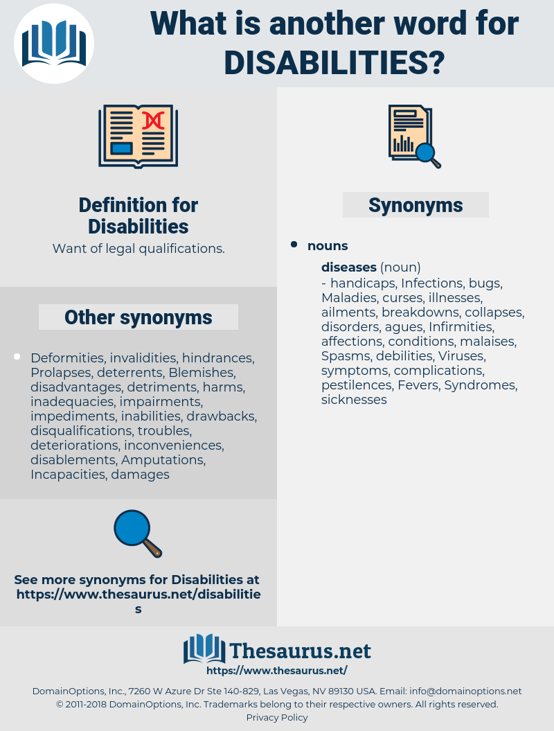 Disabilities, synonym Disabilities, another word for Disabilities, words like Disabilities, thesaurus Disabilities