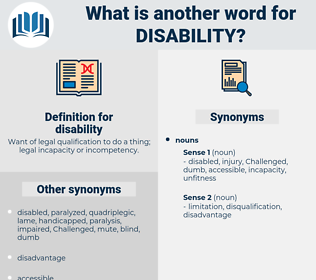 disability, synonym disability, another word for disability, words like disability, thesaurus disability