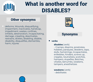 disables, synonym disables, another word for disables, words like disables, thesaurus disables