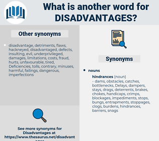 disadvantages, synonym disadvantages, another word for disadvantages, words like disadvantages, thesaurus disadvantages