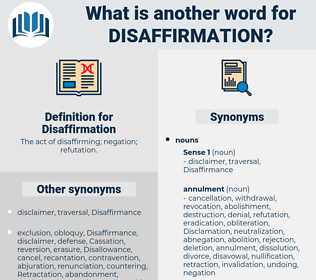 Disaffirmation, synonym Disaffirmation, another word for Disaffirmation, words like Disaffirmation, thesaurus Disaffirmation