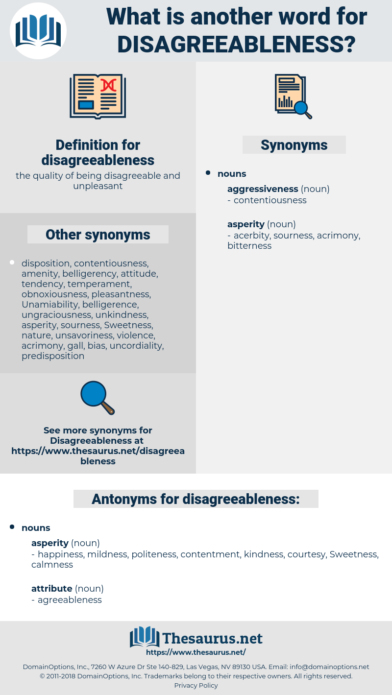 disagreeableness, synonym disagreeableness, another word for disagreeableness, words like disagreeableness, thesaurus disagreeableness