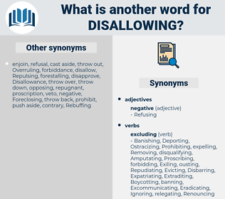 Disallowing, synonym Disallowing, another word for Disallowing, words like Disallowing, thesaurus Disallowing