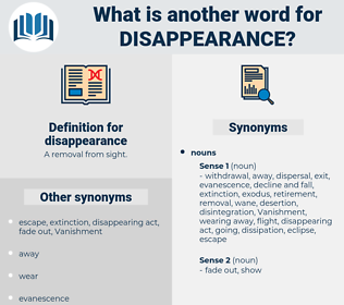 disappearance, synonym disappearance, another word for disappearance, words like disappearance, thesaurus disappearance