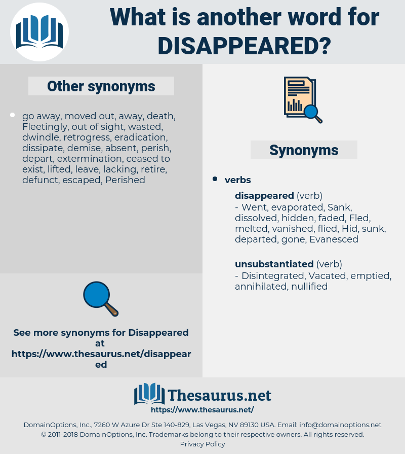 Disappeared, synonym Disappeared, another word for Disappeared, words like Disappeared, thesaurus Disappeared