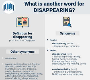 disappearing, synonym disappearing, another word for disappearing, words like disappearing, thesaurus disappearing
