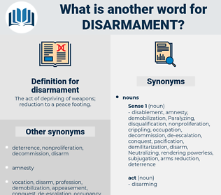 disarmament, synonym disarmament, another word for disarmament, words like disarmament, thesaurus disarmament