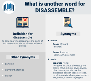 disassemble, synonym disassemble, another word for disassemble, words like disassemble, thesaurus disassemble