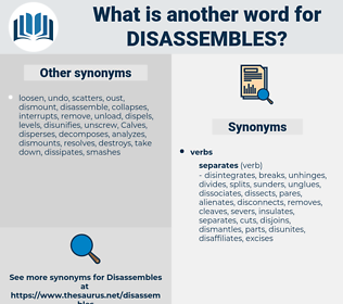 disassembles, synonym disassembles, another word for disassembles, words like disassembles, thesaurus disassembles