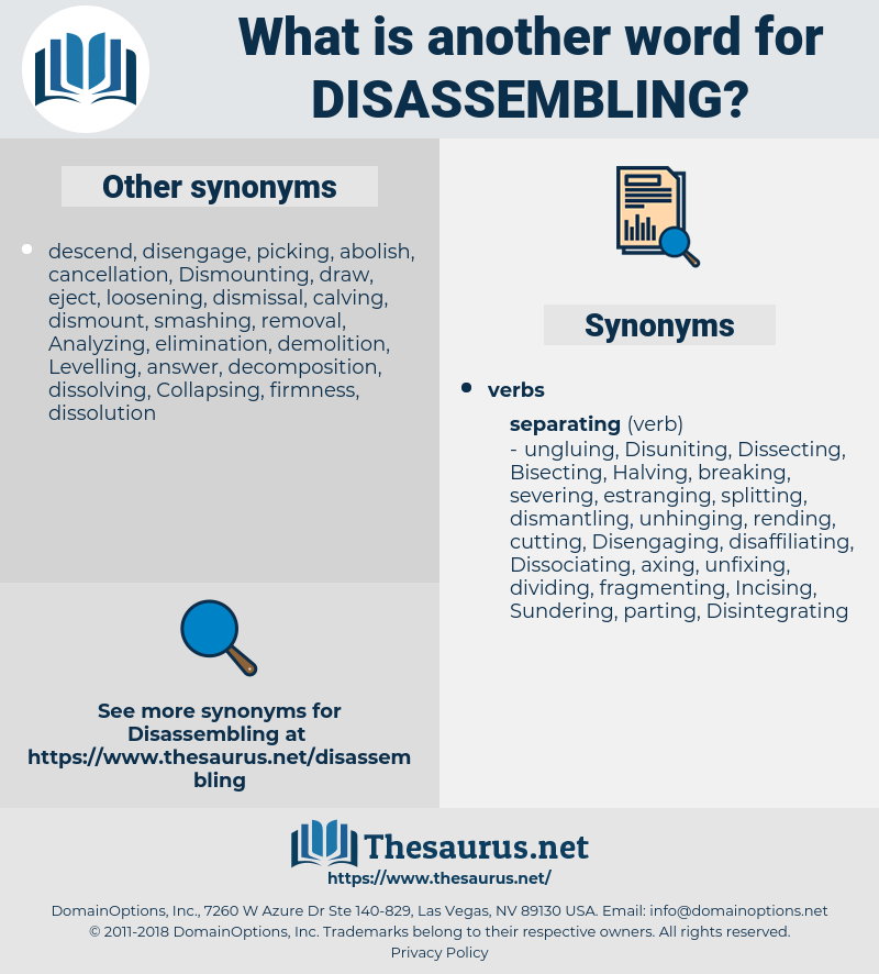 disassembling, synonym disassembling, another word for disassembling, words like disassembling, thesaurus disassembling